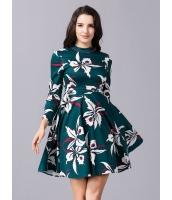 ガーベラレディース ハイネック ファッション 七分袖 着やせ Aラインワンピース mb11815-1