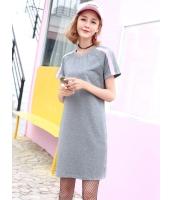 ガーベラレディース 韓国風 ファッション シンプル ストレート 丸首 半袖 ワンピース mb11987-2
