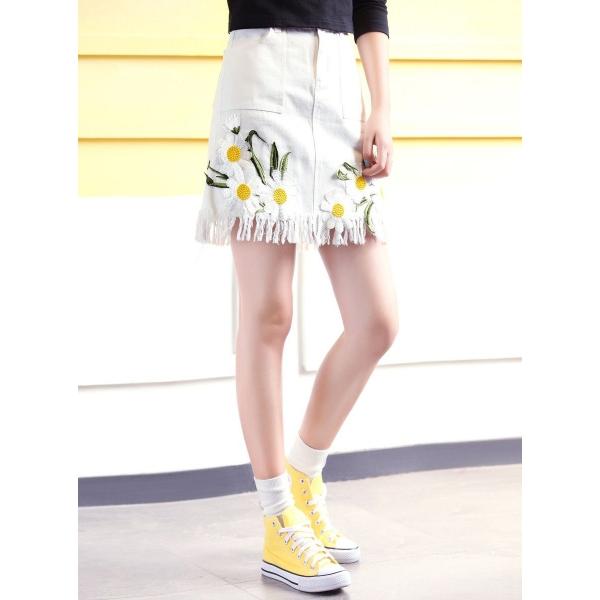 ガーベラレディース 韓国風 ファッション 刺繡入り フリンジ ミニAライン デニム スカート mb12022-1