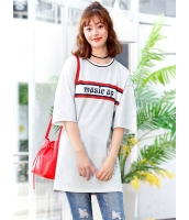ガーベラレディース 韓国風 ファッション ワイド袖 文字入り 丸首 ストレート ロング丈 Tシャツ mb12053-1