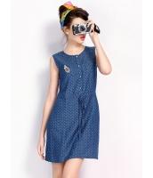ガーベラレディース 韓国風 ファッション コーデアイテム ドット・水玉 通気性 デニム 紐調節 着やせ 袖なし ミニワンピース mb12210-2