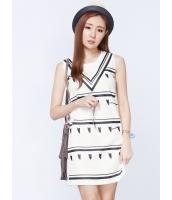 ガーベラレディース 韓国風 ファッション Vネック ストレート 袖なし ミニワンピース mb12227-1