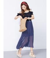 ガーベラレディース 韓国風 ドット・水玉 大きい裾 ロングワンピース マキシワンピース mb12232-1