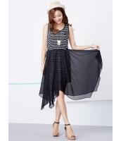 ガーベラレディース 韓国風 セーラー風 ボーダー 不規則裾 着やせ 袖なし ひざ丈ワンピース ミディワンピース mb12236-2