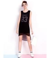 ガーベラレディース 韓国風 ファッション ダブルレイヤー ハイロー 丸首 ストレート 袖なし ミニワンピース mb12269-1