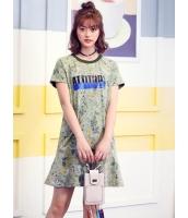 ガーベラレディース 韓国風 ファッション 花柄 文字入り 丸首 ストレート ミニワンピース mb12281-1