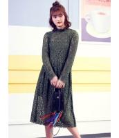 ガーベラレディース 韓国風 ファッション レース スタンドカラー 長袖 ロングワンピース マキシワンピース mb12286-1