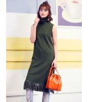 ガーベラレディース 韓国風 ファッション シンプル おおらか タートルネック 側面スリット フリンジ ロングワンピース マキシワンピース mb12289-1
