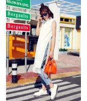 ガーベラレディース 韓国風 ファッション シンプル おおらか タートルネック 側面スリット フリンジ ロングワンピース マキシワンピース mb12289-2