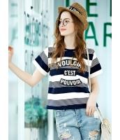 ガーベラレディース 韓国風 ファッション 文字入り 丸首 プルオーバー ショート丈 半袖 スウェット mb12336-1