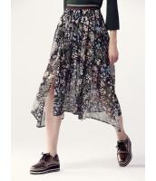 ガーベラレディース フレアスカート ロング・マキシスカート  ポタニカル 花柄 シフォン 非対称 大きい裾 スリット入り mb12446-1