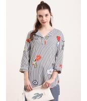 ガーベラレディース ブラウス 七分袖  韓国風 ファッション ストライプ 花柄 ハイロー mb12459-1