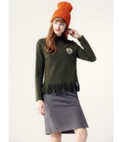 ガーベラレディース ブラウス 長袖  韓国風 ファッション スタンドカラー シンプル フリンジ mb12570-1