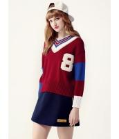ガーベラレディース セーター 長袖  韓国風 ファッション Vネック シンプル おおらか ニットウェア mb12599-1