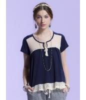 ガーベラレディース Tシャツ・カットソー 半袖  レース ぺプラム裾 mb12861-1