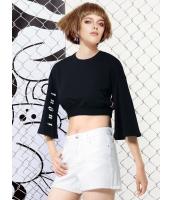 Tシャツ・カットソー 欧米風 ショート丈 ワイド袖 丸首 mb13139-1