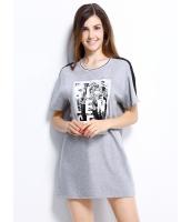 ガーベラレディース ロング丈Tシャツ 半袖 シンプル 文字入り スパンコール mb14253-1