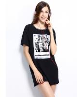 ガーベラレディース ロング丈Tシャツ 半袖 シンプル 文字入り スパンコール mb14253-2