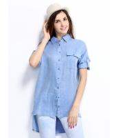 ガーベラレディース シャツ 半袖 シンプル カジュアル 純綿 ゆったり ハイロー mb14278-1