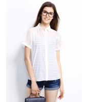 ガーベラレディース シャツ 半袖 シンプル シースルー mb14292-2
