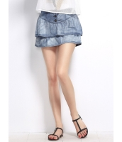 ガーベラレディース デニムスカート ミニスカート ダブルレイヤー裾 ボタンアップ mb14298-1