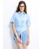 ガーベラレディース シャツ 半袖 シンプル シースルー mb14301-1