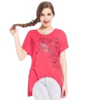 ガーベラレディース Tシャツ カットソー 半袖 イレギュラー裾 Vネック mb14319-1
