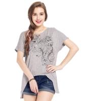 ガーベラレディース Tシャツ カットソー 半袖 イレギュラー裾 Vネック mb14319-2