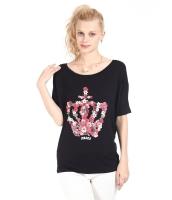 ガーベラレディース Tシャツ カットソー 半袖 ゆったり ブラック mb14324-1