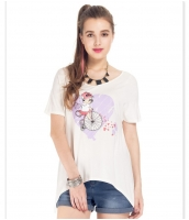ガーベラレディース Tシャツ カットソー 半袖 ハイロー mb14327-2