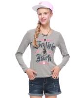 ガーベラレディース Tシャツ カットソー 長袖 カジュアル コーデアイテム 文字入り 丸首 リラックス mb14354-1