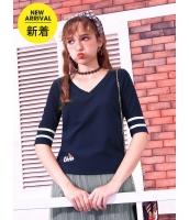 ガーベラレディース Tシャツ カットソー 韓国風 シンプル Vネック mb14639-3