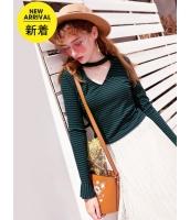 ガーベラレディース Tシャツ カットソー 長袖 韓国風 シンプル ボーダー ディープV ワイド袖 mb14753-1