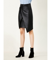 ガーベラレディース カジュアル 非対称 PUレザー ラップスカート 膝丈スカート mb15263-1