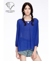 ガーベラレディース シャツ 個性的 エレガント スポーティ スパンコール ブルー ブラウス 七分袖 mb15527-1