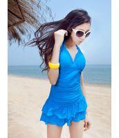 【即納】セットアップ水着 | ワンピース水着 | スカート付き2点セット-tkm-n4271-bl-m-【カラー:ブルー】-【サイズ:M】