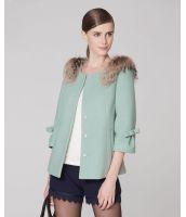 コート ラクーンファー付き七分袖 ウール 後ろリボン飾り-os5496