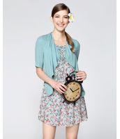 膝丈ワンピース 重ね着風切替花柄プリント 裾フレア大きいサイズあり-os5581