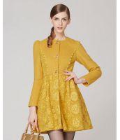 コート 刺繍レース切替 ウール パフスリーブ大きいサイズあり-os5650