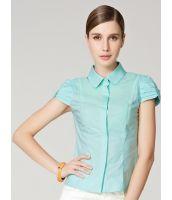 シャツ ブラウス 半袖 袖リボン飾り コットン 無地-os5991