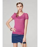 Tシャツ カットソー Vネックパフスリーブ 刺繍レース切替スパンコール飾り-os6212