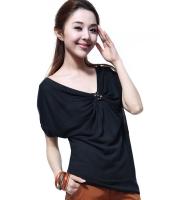 カットソ Tシャツ Vネック胸元リボン風 スパンコール飾りゆったり-os6371