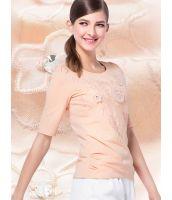Tシャツ カットソー 立体花刺繍入り五分袖 コットン クルーネック無地-os6557