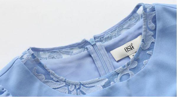膝丈ワンピース 刺繍レース切替Aラインクルーネック 後ろファスナー付き無地-os6596