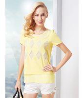 シャツ ブラウス 半袖 襟刺繍レース切替パフスリーブ  大きいサイズあり-os6770