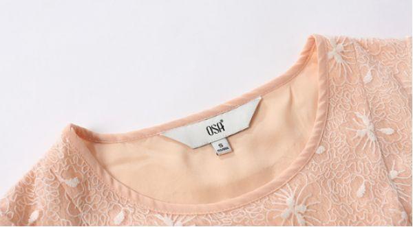 シャツ ブラウス 半袖 刺繍レース切替裾フレア  クルーネック無地-os7044