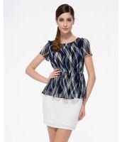 シャツ ブラウス 半袖 プリント入り裾フレア  パフスリーブ大きいサイズあり-os7967