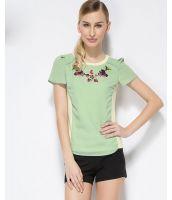 Tシャツ カットソー 胸元プリント入り切替風 コットン パフスリーブ無地大きいサイズあり-os8008