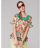 シャツ ブラウス 半袖 花柄プリント入り襟元刺繍  裾フレア-os8065