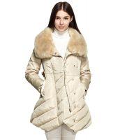 ダウンコート ベルト付き襟元ファー飾り斜めファスナー無地ストレートゆったり大きいサイズあり-os9829